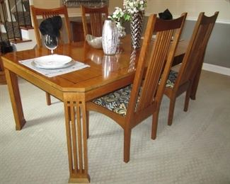 DINING ROOM TABLE AND 6 CHAIRS WITH MATCHING BREAKFRONT BY STICKLEY