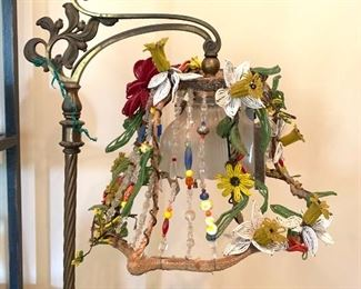 handmade lampshade with vintage glass bead shade