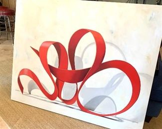 """Original painting, """"Crimson Twister"""", oil on canvas 48"""" by 60"""", by local Mooresville artist, LC Neill"""