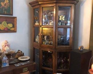 Porcelain in corner display cabinet