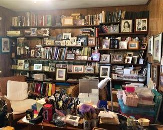 Books, picture frames, office supplies & desks