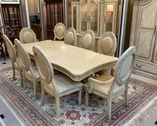 """This beautiful formal dining set comes with 10 chairs!  With two leaves, it measures approximately 102"""" x 45"""".  Sold separately is a matching hutch, and separate cabinet.  All in excellent condition.  We have two large area rugs like the pictured 13' x 9.3' and 7.5' x 11."""