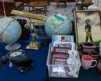 Vintage globes, Hershey collection....This piano lamp is EXTRA NICE.