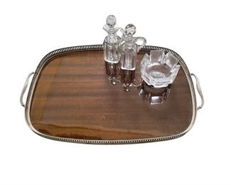 Vintage Wood Gallery Tray and Crystal