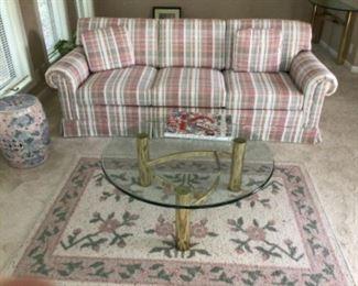 Sofa, Round Coffee Table, Area Rug