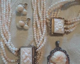 Angel skin coral with carved panels. From Venice. Shell cameo.
