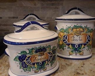 Italian ceramic  storage canisters.