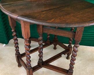 Barley twist gate leg antique table