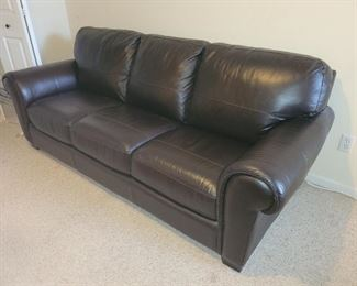 $350.00, New dark brown leather sofa, excellent condition