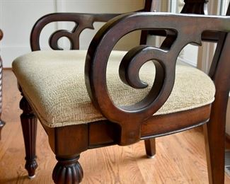Dining Room table with eight (8) chairs, captain's chair detail (2)