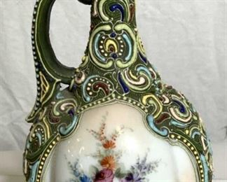 Hand Painted Vntg Porcelain Majolica Pitcher