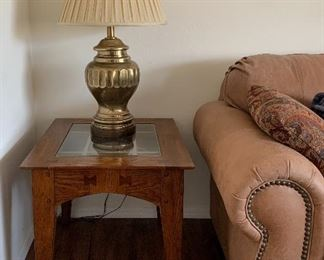 Leather Sofa, End Tables, Coffee Table, Table Lamps pair