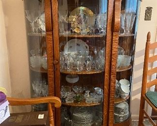Huge collection of china and vintage glassware. China cabinet is NOT available