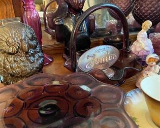 Beautiful amethyst glass and Fenton glass