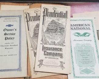 Antique Insurance and  Chevrolet Owner Service Ephemera