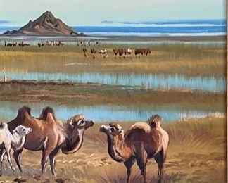 *Original* Art Russian Camel PaintingFrame: 25x30x2.5inHxWxD