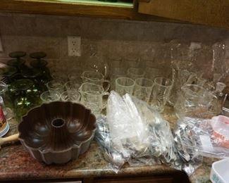 flatware, cake pan,  glasses
