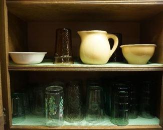 pitcher, bowls glasses