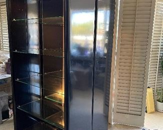 2 Tall Black Lacquer Glass Shelves Show Cases / Book Shelves
