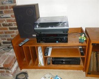 Mid-Century Teak Stereo Shelf w/album slots