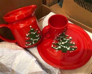 Waechtersbach Christmas Tree plates and mugs