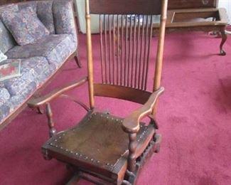 Vintage Ornate Solid Wood Rocking Chair