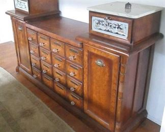 Vintage Ornate Solid Wood Library Card Style Multi-Drawer Credenza (Missing 2 Knobs)