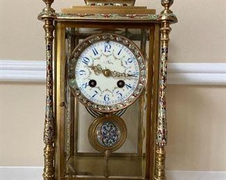 French Cloisonne Mantel Clock