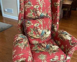 Custom Covered Asian inspired Wing Chairs, A Pair !