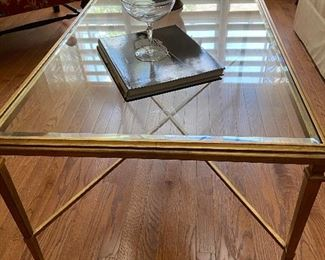 Rectangular Beveled Glass Coffee Table with Brass