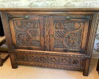 Carved English oak Jacobean sideboard