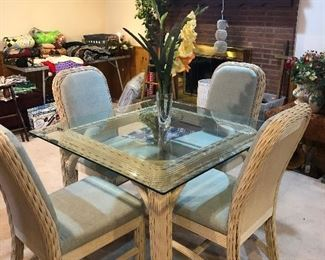Glass top wicker table and chairs
