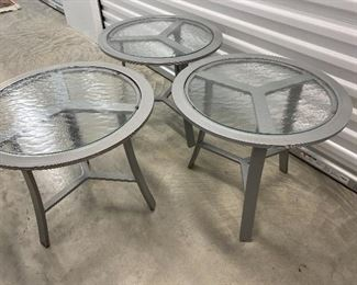"""Lot #6 - $225- 3 Brown Jordan patio tables, metal bases with glass insert tops. 18-1/2""""H x 21""""D"""