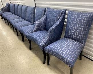 Lot #2 - $1,995  - 10 Donghia upholstered chairs. 2 armchairs and 8 side chairs. Excellent condition.