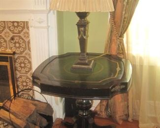 Dark green leather top table with lamp. (Pair of both)