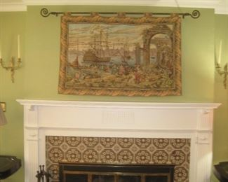 French tapestry & decorative wall sconces.