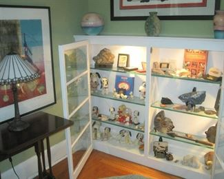 Collectibles including fossils and Snoopy.