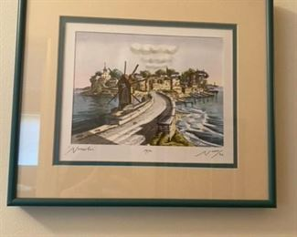 "Signed Artwork water scene, date 1974 12.5"" w x 11"" h  $175"