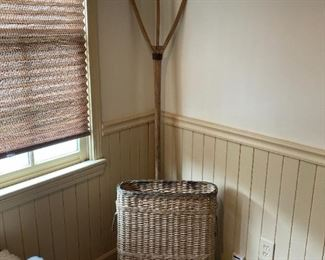 Primitive wood hay fork and lovely French basket