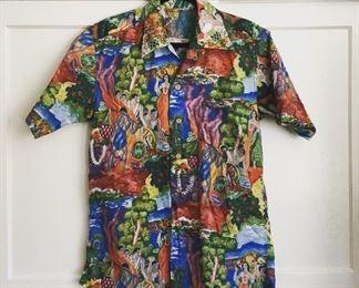 1940s Kamehameha Eugene Savage mason menu design button up mens shirt size med