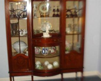 Inlayed  , mahogany, curved glass china, three doors & drawer