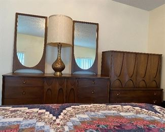 The 9 drawer console with two mirrors that are not attached and the gentleman's chest