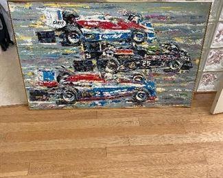 Ron Burton Original Oil Painting of 1978 Indianapolis 500 with  #25 Danni Ongais, #2  Tom Sneva and #1 Al Unser