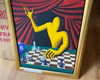 """Mark Kostabi's """"The King in Jeopardy"""" Original Painting"""