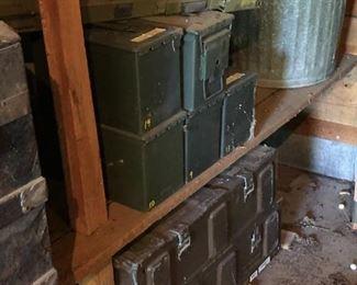 Ammunition boxes, vintage metal