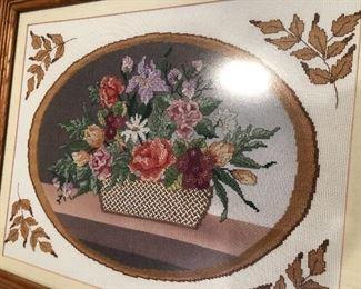 Vintage needlework framed