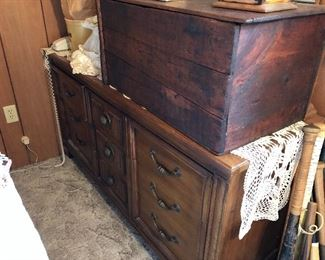 Solid wood old trunk, and dresser