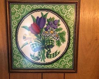 Vintage Crewel work framed