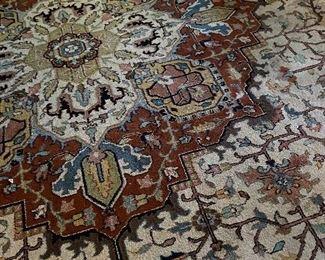 24 x 14 Hand knotted, oriental rug, Heriz pattern, semi-antique