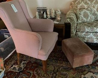 One of pair of uph. chair with ottoman, nice large square end table with a beautiful china nativity scene.